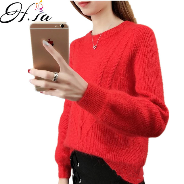 c06c7636c3 H.SA Winter Sweater Women 2018 Long Sleeve Knitted Women Sweaters And Pullovers  Female Jumper Autumn Befree Tricot Tops Sweaters