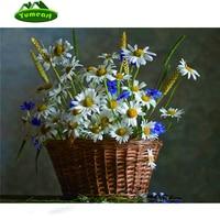 Basket Of Flowers Daisies Diamond Painting Kits 30x40cm Full Square Drill Diamond Cross Stitch Rhinestone Pasted