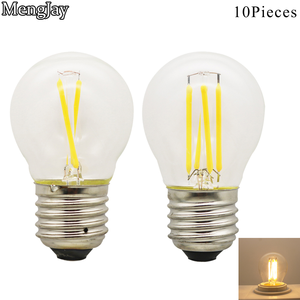 MengJay 10Pieces Lampada Led Warm White / White AC220V G45 E27 Led Light 2W 4W 6W Filament Lamp Antique Retro Edison Ball Bulb