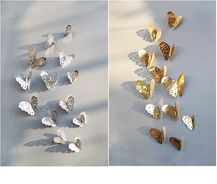 18PCS Room Wall Crystal Butterfly Sticker Art Decal Home Decoration XT