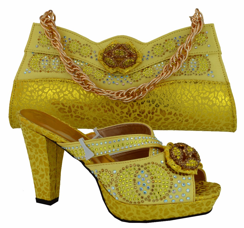 African Fashion Shoes Matching Bags set,with plenty stone for party italian design Shoes and Bags MM1007 yellow african fashion shoes with matching bag set for wedding party italian design nigeria women pumps shoes and bags mm1060