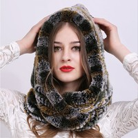 Winter Hooded Hat Scarf Rex Rabbit Fur Knitted Caps Good Quality Real Fur Scarves & Hats Super Warm Women's Winter Hat