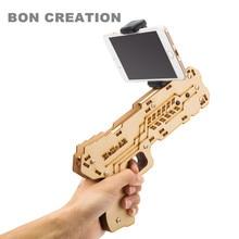 2017 ar pistola portátil Bluetooth ar arma más nuevo estilo 3D VR juegos material de madera juguete ar pistola de juego para Android IOS iPhone teléfonos