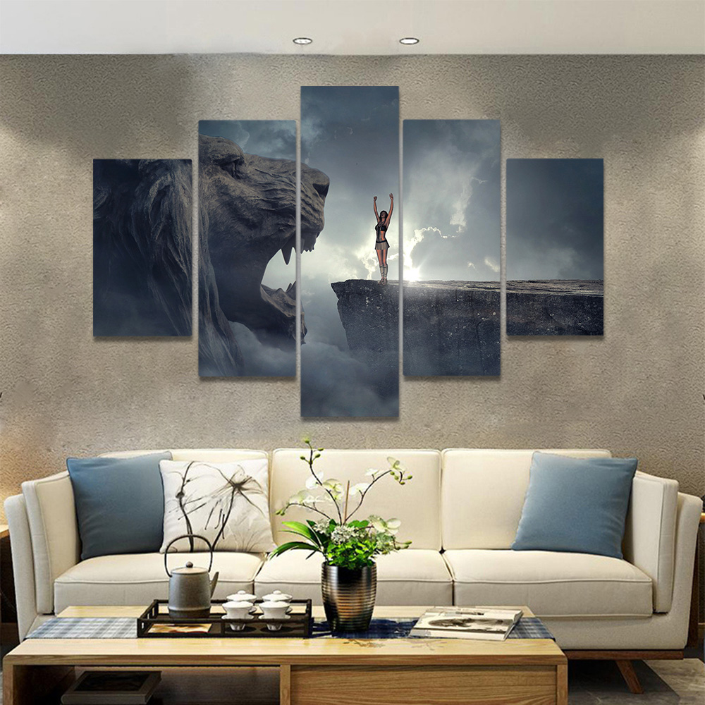 Unframed Canvas Painting Girl On The Cliff Stone Lion Dark Picture Prints Wall Picture For Living Room Wall Art Decoration