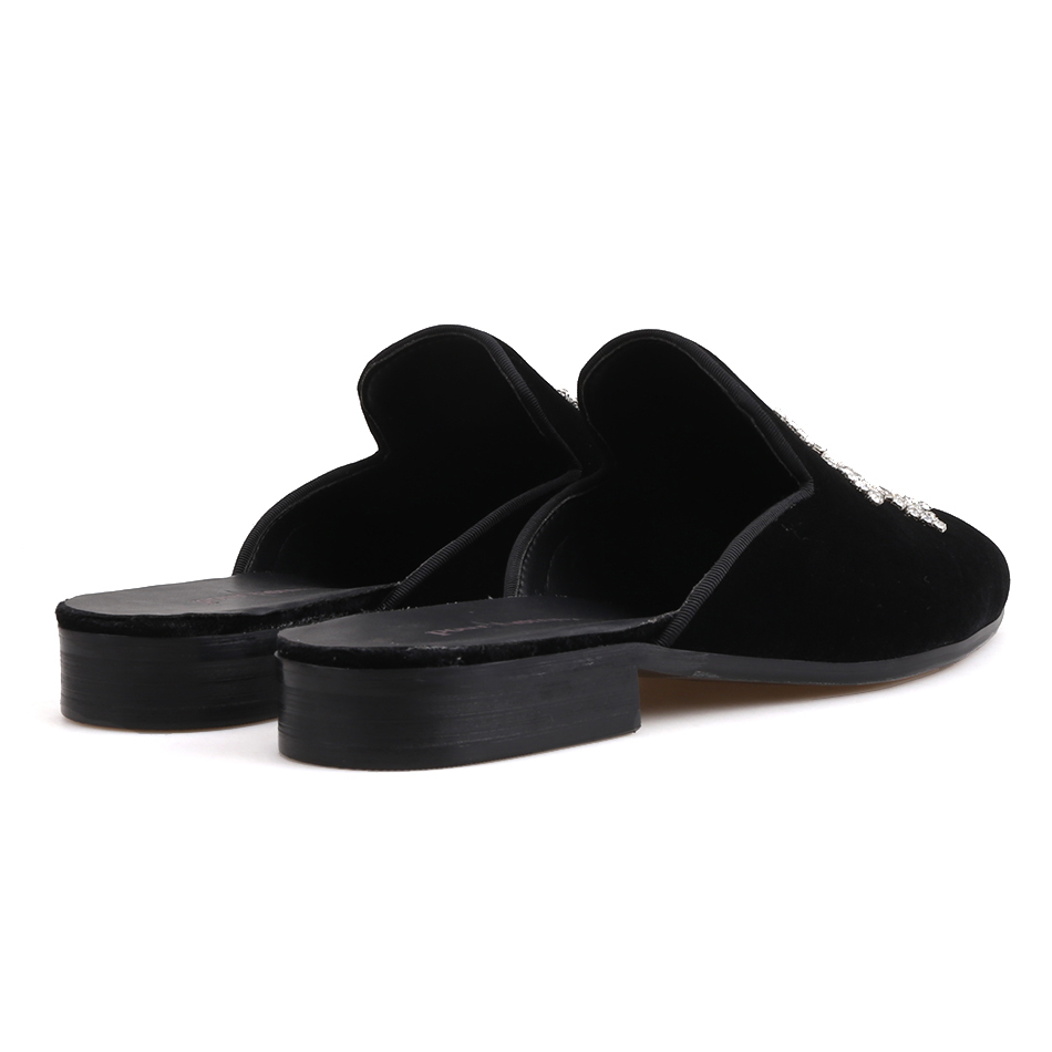 Piergitar 2019 new style Handmade crystal design men's velvet slippers Fashion party and show men's dress shoes smoking slippers