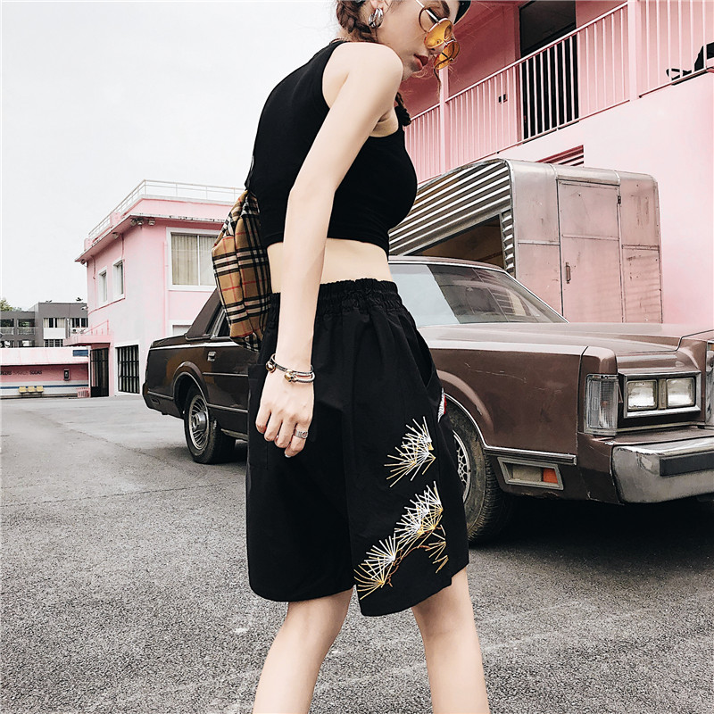 Dandelion Embroidery Straight Women Shorts Elastic Waist Drawstring Women 39 s Shorts Street Shorts 2Colors in Shorts from Women 39 s Clothing