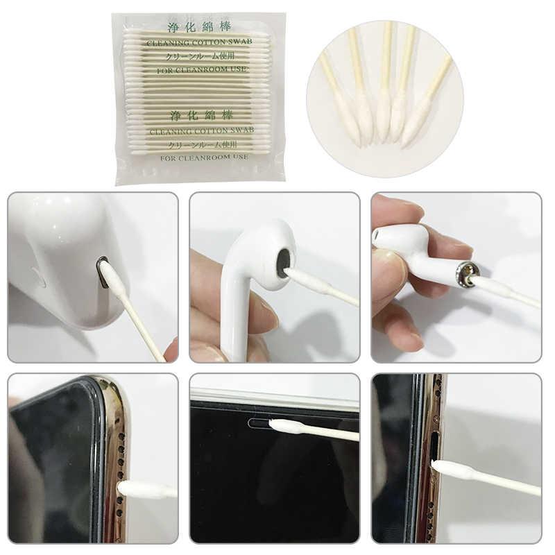 حافظة لجهاز Apple Airpods مقاس 25x/50x أداة تنظيف قطنية للاستعمال مرة واحدة لأجهزة AirPods 2 1 منفذ شحن للهاتف لأجهزة Airbods