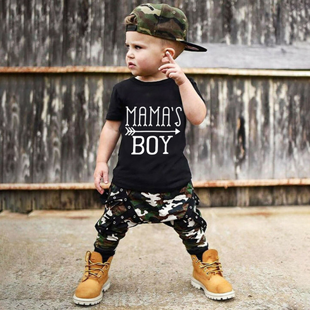 Beach Summer T Shirt Pants Baby Clothes Kids Outfits Set Letter Infants Boys Sui