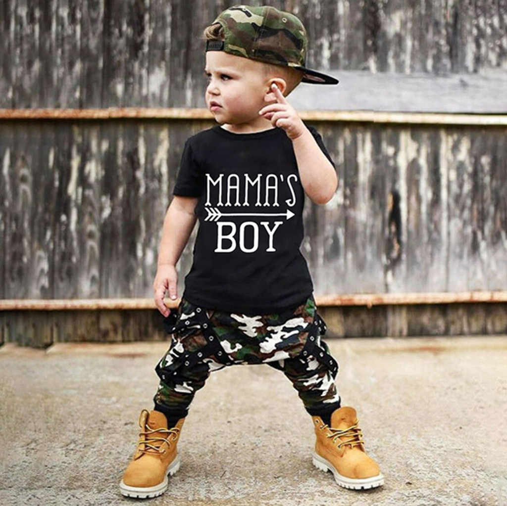 Toddler Boys Clothes Set Letter T Shirt + Camouflage Chain Pants Tracksuit Children Clothing Suit Child Baby Outfits 2 3 4 Years