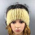 2016 Winter Beanies Fur Hat for Women High Quality Novelty Mink Fur Ball Solid Mink Women Fur Hat