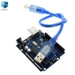 Eletrônica inteligente R3 Mega328P ATMEGA16U2 Development Board com Cabo USB UNO UNO R3 (com logotipo) para Arduino Starter Kit Diy