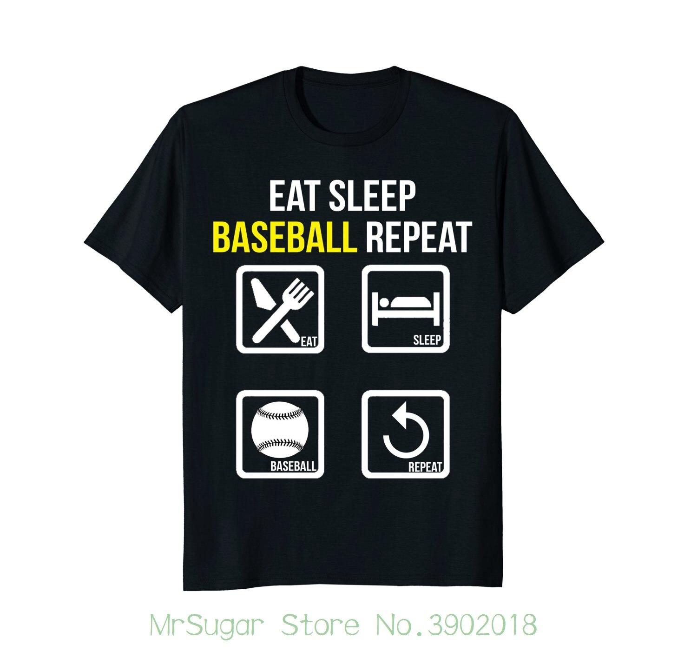 Eat Sleep Baseball Repeat T-shirt Loose Cotton T-shirts For Men Cool Tops T Shirts