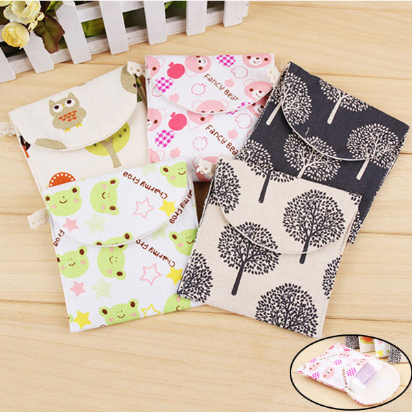 2019 Hot Lovely Charming Nice Brief Cotton Cartoon Sanitary Napkin Bags Sanitary Towel Storage Traveling Travel Bag H66