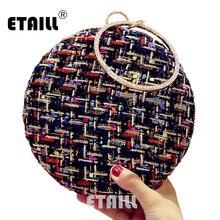 ETAILL 2017 Handmade Woolen Circular Evening Clutch Bags Fashion Brand Round Wallets Wedding Dinner with Chain