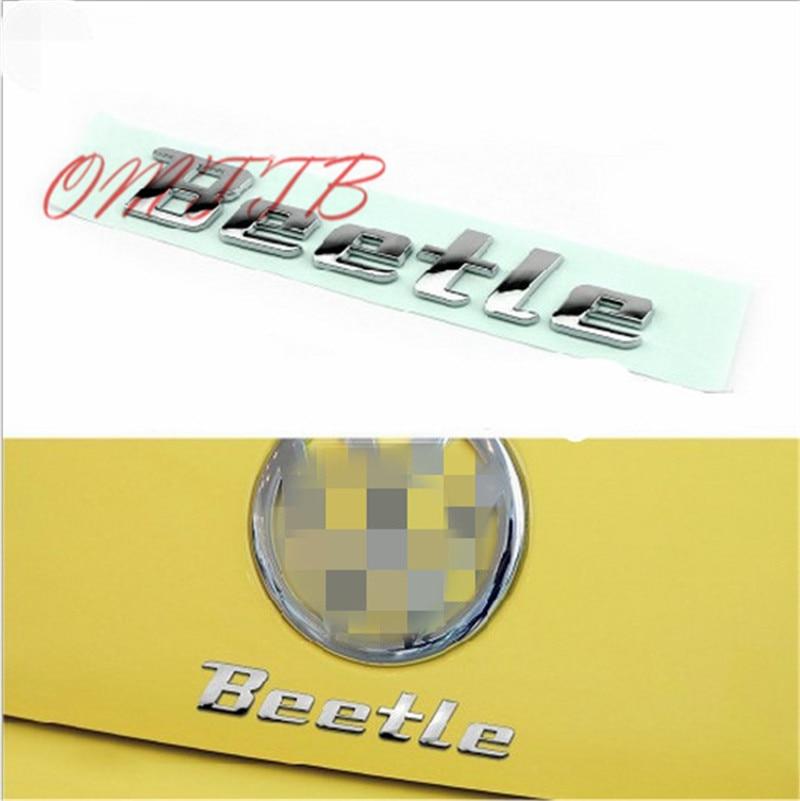 3D Metal Sticker Beetle Emblem Badge Chrome Letter Decal For Volkswagen VW Beetle Rear Trunk Door Body TDI TSI Auto Car-styling