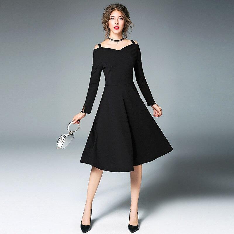 Ceremony Elegant Black Long Sleeve Slash Neck Dress Women 2017 ...