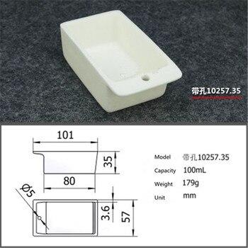 99.5% Square corundum crucible / 120ml 10060 / Temperature 1600 degrees / Sintered ceramic crucible