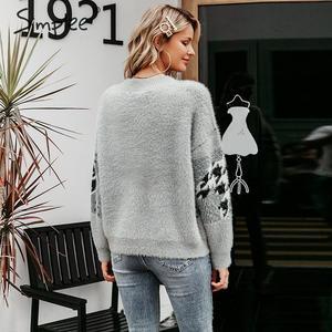 Image 4 - Simplee w stylu Vintage v neck kobiety sweter sweter na co dzień piersi geometryczne szwy znosić sweter jesień zima kobiet swetry rozpinane