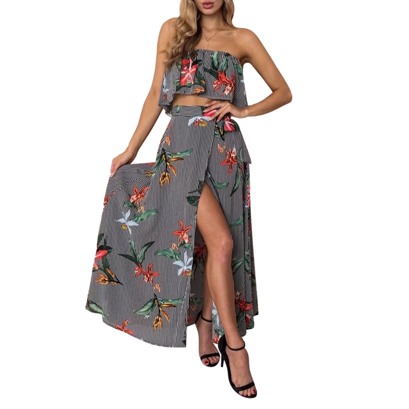 Strapless Summer Long Dress 2 Pieces Set Beach Tunic 2018 ruffle Floral striped Print High Waist Midi Robe Vestidos De Fiesta