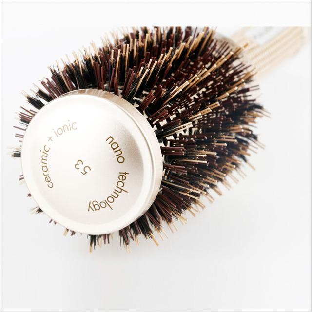 Nano Ionic Boar Bristle Hair Brush Salon Comb Barrel Blow Dry Hair Round Brush In 4 Sizes Professional Salon Styling Tools