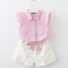 Kids Clothes 2018 Sleeveless Summer Style Baby Girls Shirt +Shorts + Belt 3pcs Suit Children Clothing Sets Fashion Style