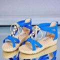 Горячие Продажи Сандалии Женщины 2017 Летняя Обувь Открытым Носком Плоские Туфли Римские Сандалии