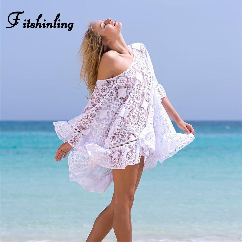 Fitshinling Bohemian white lace dress swimwear ruffles hollow out flare sleeve sexy beach