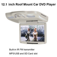 12.1 Inch Roof Mount Car DVD Player with built-in IR FM transmitter and MP5/USB Card and SD/MS /MMC Slot