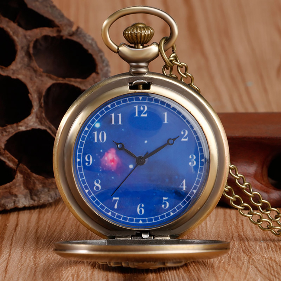 Hot Selling Classic The Little Prince Movie Planet Blue Bronze Vintage Quartz Pocket FOB Watch Popular Gifts for Boys Girls Kids 2019 2020 2021 2022 2023 2024 (4)