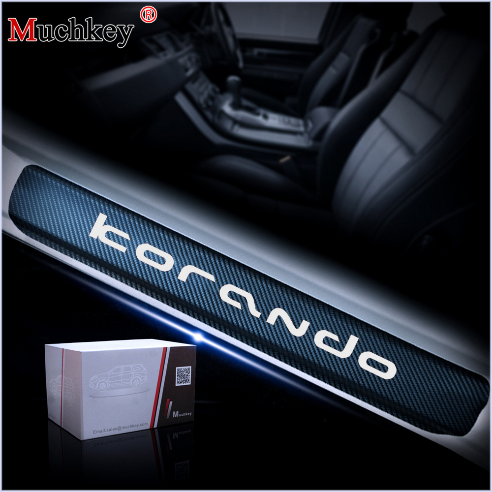 Car Door Threshold Plate For Ssangyong KORANDO Door Sill Step Protector Guard Carbon Fiber Vinyl Sticker Auto Accessories 4Pcs