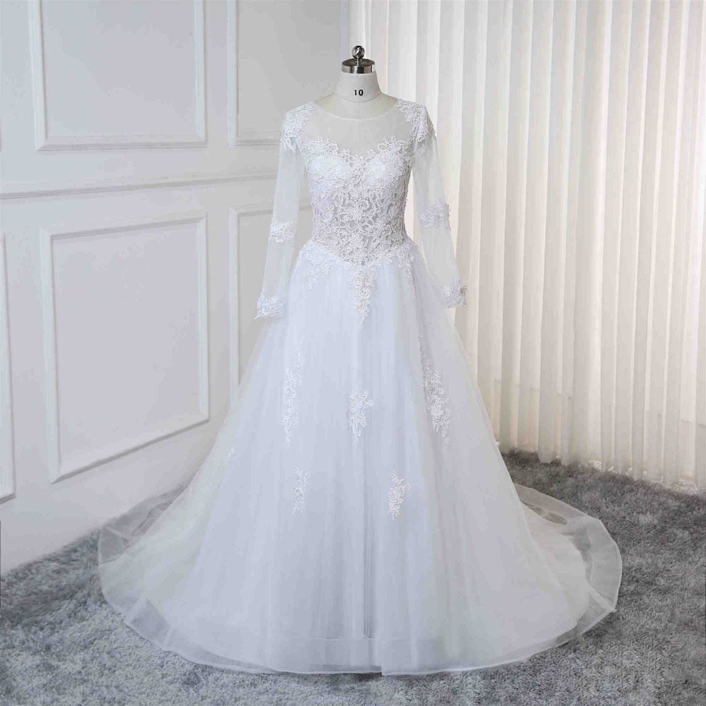 Robe De Mariage 2019 Long Sleeves Ball Gown Wedding Dresses Lace Appliques Bridal Wedding Gowns Vestidos De Noiva