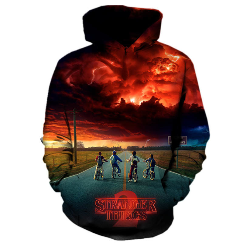 Oversized Hipster Stranger Things Hoodies 3D Women Men Hoodies Sweatshirts Moda Hombre 2018 Fashions Clothes Drop Shipping