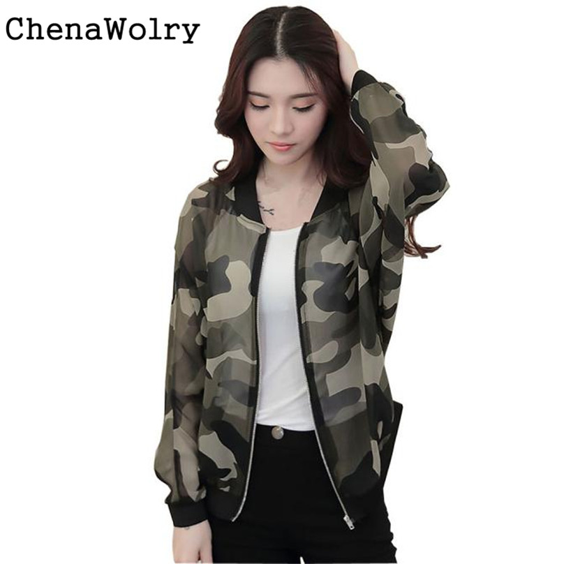 Autumn Winter font b Women b font Stand Collar Long Sleeve Zipper Camouflage Printed Bomber Jacket