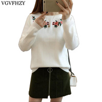 2017 Autumn Sweater Women Embroidery Knitted Winter Women Sweater And Pullover Female Tricot Jersey Jumper Pull
