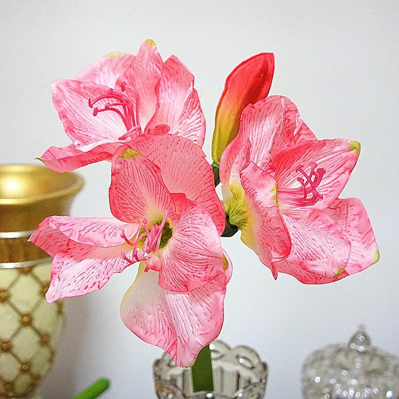 Sztuczny kwiat amarylis oddział fleurs artificielles do dekoracji stołu domowego sztuczne jedwabne kwiaty Hippeastrum flores