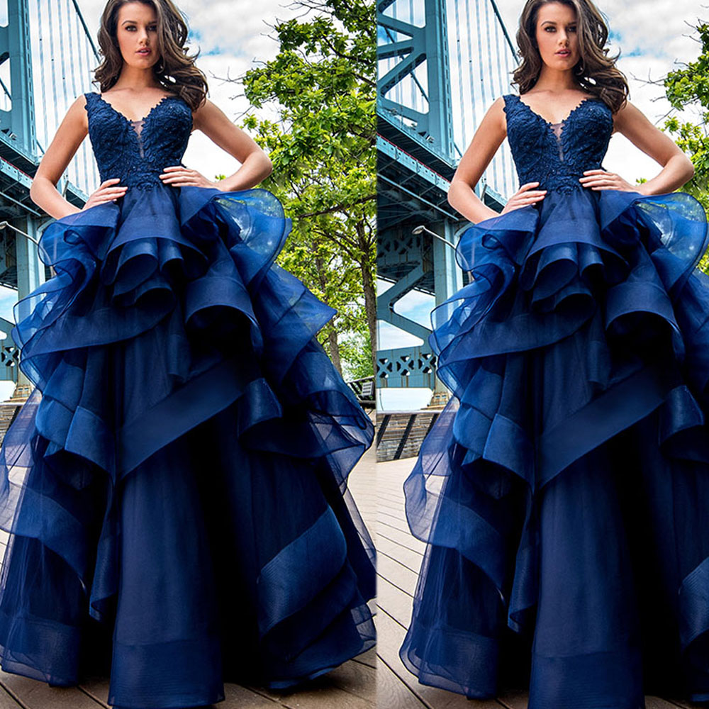 royal blue luxury ball gown prom dresses 2017 v neck tank