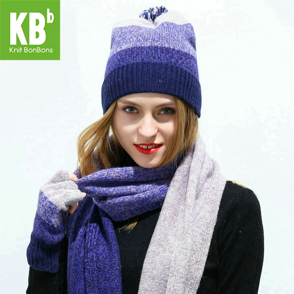 f51c82d522e 2018 KBB Women Scarf Hat Set Knitted Wool Lambswool Female Women s Scarves  Tippet Gloves With Beanie
