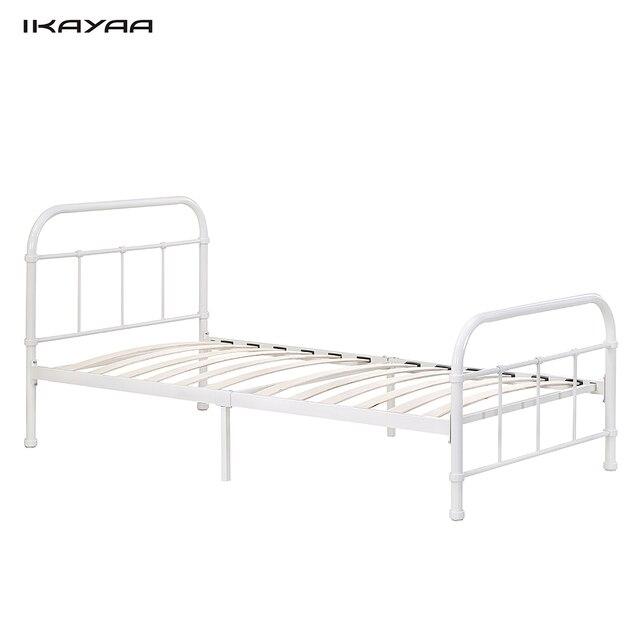 iKayaa 90*190cm Metal Bed Frame Wood Slats for Single Sized Mattress ...