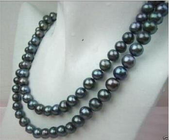 """free shipping Natural AA+ 8-9MM TAHITIAN BLACK PEARL NECKLACE 33"""""""