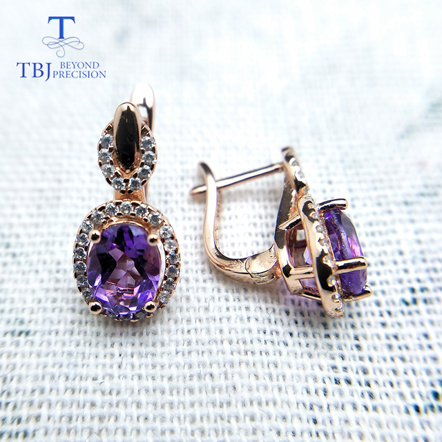 Amethyst Gold Plated 925 Sterling Silver Earrings 1