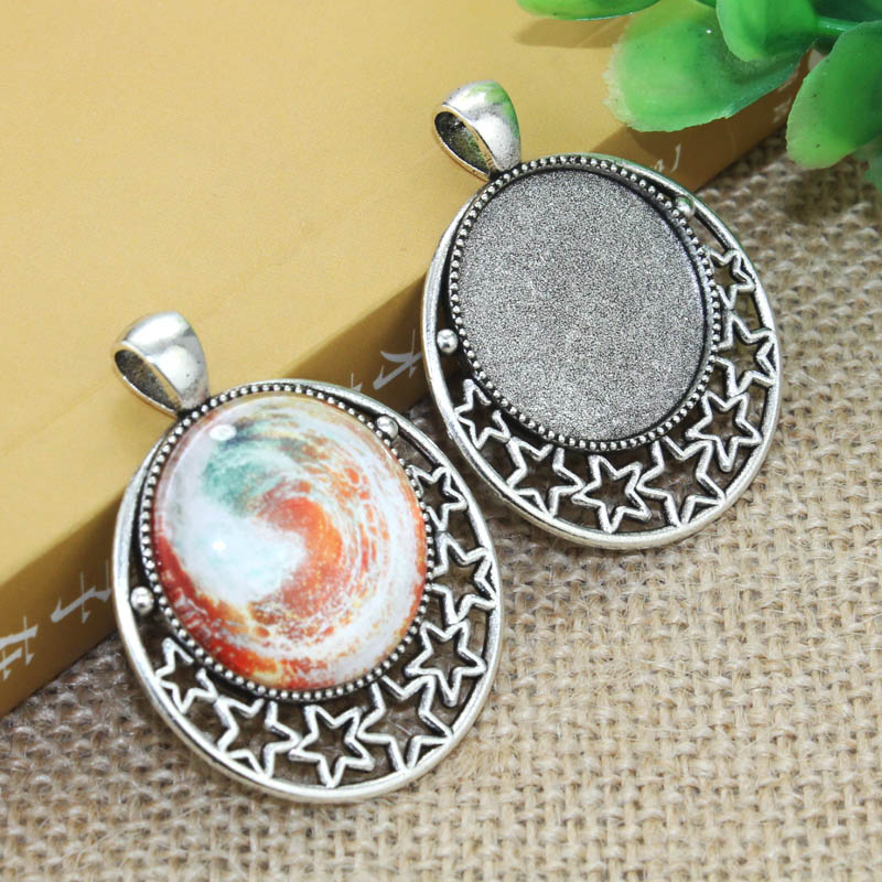 2 pcs Vintage owl convex Cameo Charm silver Alloy Lady Pendant Necklace·