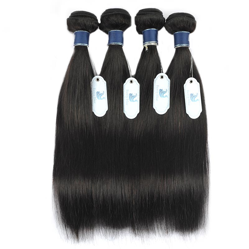 Remy Blue Raw Indian Hair 4 Bundles With Closure Straight Human Hair Weave Extensions Natural Color Thick Bundles With Closure (67)