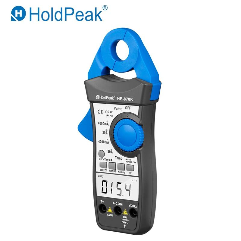 HoldPeak HP-870K Auto Range DC/AC Digital Clamp Meter Multimeter Pinza Amperimetrica Amperimetro Temperature/Frequency Backlight holdpeak hp 870k auto range digital clamp meter small current range multimeter amperimetro temperature frequency backlight