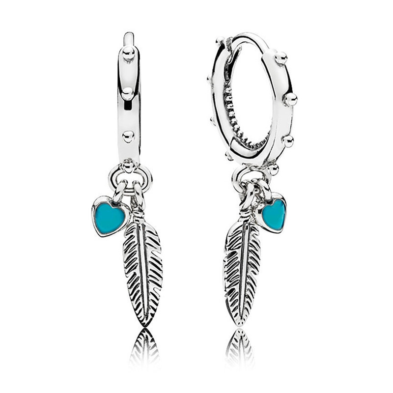 Detail Feedback Questions about New Arrived Fashion 925 Sterling Silver Pandora  Earrings For Women Spiritual Feathers Hanging Earrings Fine Europe Jewelry  ...