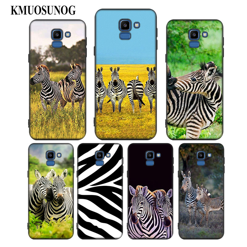 For Samsung Galaxy j8 j7 j6 j5 j4 j3 Plus Prime 2018 2017 2016 Black Silicone Phone Case Zebra animal stripe Style in Fitted Cases from Cellphones Telecommunications