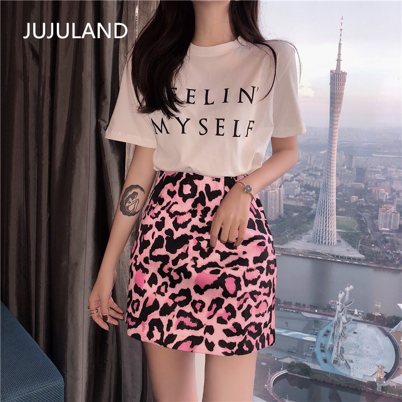 Jujuland Summer Woman Two Piece Set Leopard Mini Skirt With Casual Basic T Shirt  Elastic Waist Elegant Ladies Style Suits 2018 by Jujuland