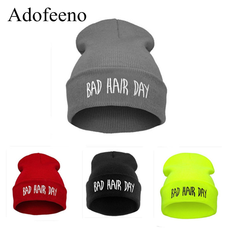 Adofeeno New Bad Hair Day Beanies for Men or Women Hip Hop Hat Beanie Winter Caps Skullies Hats 2017 new wool grey beanie hat for women warm simple style bad hair day knitting winter wooly hats online ds20170123 x24
