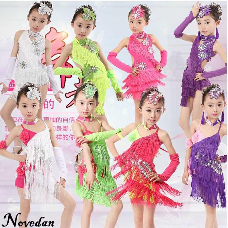 c4985b93d Girls Latin Dance Dresses Sequin Fringe Salsa Tango Dress Child Samba  Costume Clothes Rumba Ballroom Dancing Dresses For Kids