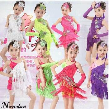 12daab24a Las niñas vestidos Danza Latina de flecos de lentejuelas Salsa Tango vestido  de niño Samba traje ropa Rumba baile de salón de baile vestidos para los  niños
