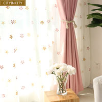 CITYINCITY Colorful Snow Style White Voile 3d Curtains Embroidered sheer Tulle for children's bedroom Women Window